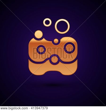 Gold Sponge Icon Isolated On Black Background. Wisp Of Bast For Washing Dishes. Cleaning Service Con