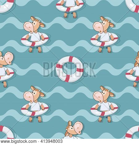 Calf. Sea Background. Beach. Summer Rest. Funny Calf With A Lifebuoy On Wave. Cartoon Style.