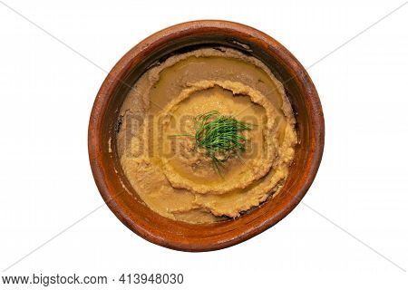 Peeled Fava Beans Mashed Plain In A Brown Bowl Isolated On White Background. Top View. Foul Mudammas