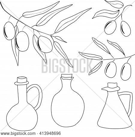 Olives Set Of Elements With Olive Branches And Fruits, And Olives Oil Bottles. Hand Drawn Illustrati