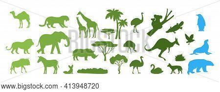 African, Australian, Arctic Wild Animal Silhouettes, Vector Paper Cut Illustration. Save Animals, Di