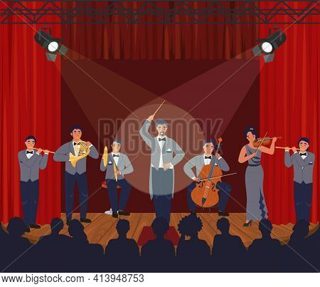 Opera Theater Scene. Symphony Orchestra Performing On Stage, Vector Illustration. Classical Music Co