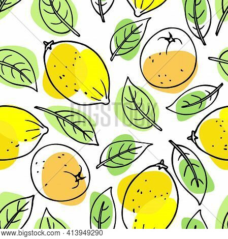 Bright Tangerine And Lemon Fruit With Leaves Seamless Pattern. Citrus Hand Drawn Vector Sketch With