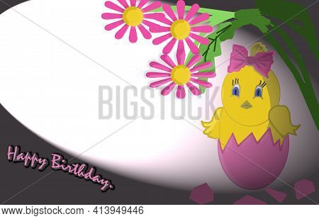 3 D - Rendering. In A Beam Of Light From A Broken Pink Egg, A Chicken With Surprised Eyes And A Pink