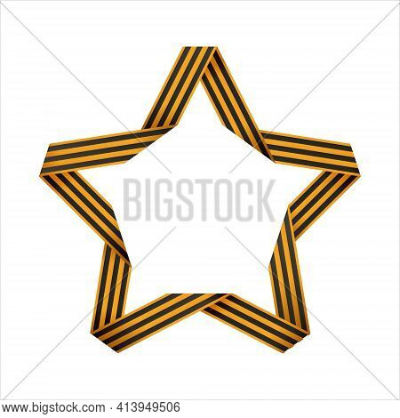 Striped Victory Saint George Ribbon Star Isolated On White Background. Vector Illustration. May 9 Ru