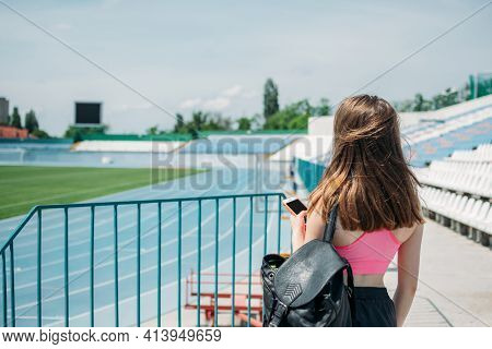 Stadium Outdoor Workout. Fitness For Female Beginners, Woman Fitness, Physical Activity For Teenager