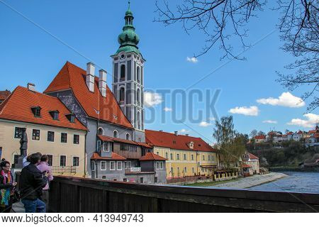 Cesky Krumlov, Czech - April 25, 2012: This Is A View Of The Former St.jost Church From The Lazebnic