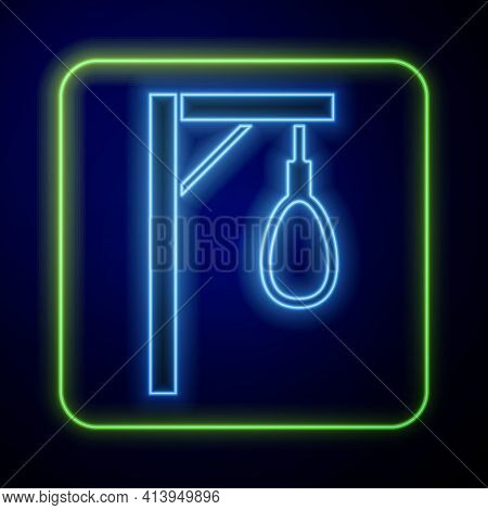 Glowing Neon Gallows Rope Loop Hanging Icon Isolated On Blue Background. Rope Tied Into Noose. Suici