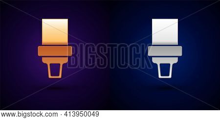 Gold And Silver Safety Belt Icon Isolated On Black Background. Seat Belt. Vector