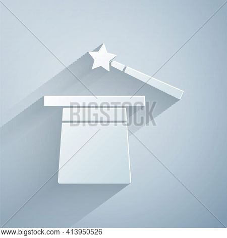 Paper Cut Magic Hat And Wand Icon Isolated On Grey Background. Magic Trick. Mystery Entertainment Co