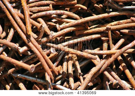 Image Of Plenty Of Becoming Rusty Nails Of Different Size
