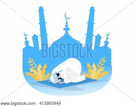 Religious Muslim Prayer Prayer In Traditional Clothes Full Length Vertical Vector Illustrationin Mos