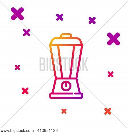 Color Line Blender Icon Isolated On White Background. Kitchen Electric Stationary Blender With Bowl.