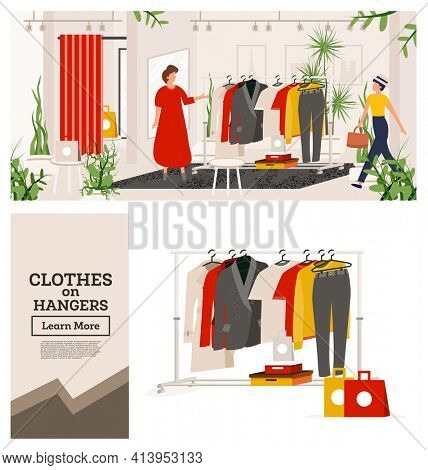 Fashion Clothes Store. Boutique or Shop with Woman's Cloth. Modern Interior. Seller in Red Dress Invites the Buyer to Try on Clothes. Woman's Clothes Hanging on Hangers. Gift Boxes and Bag Next to It.