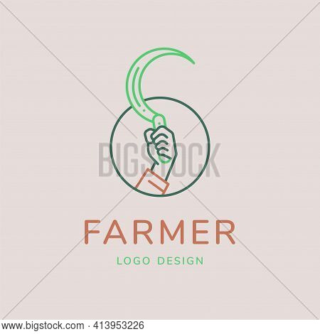 Farmer Logo, Hand Sickle Vector Illustration For Agricultural Concept. Minimal Thin Line Style.