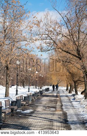 Street Lamps And Benches On The Alley In The Park, Early Spring, Spring Background, Moscow, 2021