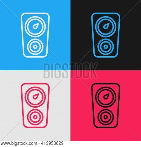 Pop Art Line Gauge Scale Icon Isolated On Color Background. Satisfaction, Temperature, Manometer, Ri