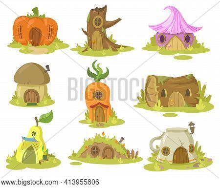 Fantasy House Illustrations Set. Collection Of Fairy Houses For Elf Or Gnome In Various Shapes On Wh