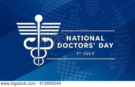 National Doctor's Day Text And White Modern Staff Of Hermes A Symbol Medicine On Blue Texture Backgr