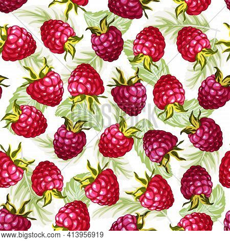 Raspberry Berries In A Seamless Pattern.raspberry Berries And Leaves On A White Background In A Colo