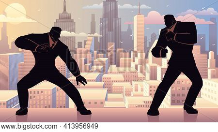 Concept Illustration For Competition In Business, Depicting Two Businessmen Fighting Like Video Game