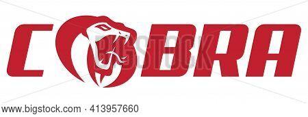Mascot Or Logo Symbol With Red Cobra Snake.
