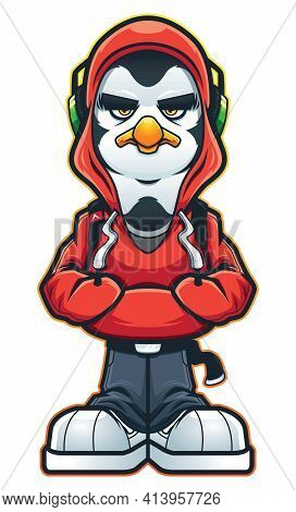 Mascot With Cool Penguin Character With A Lot Of Swag.