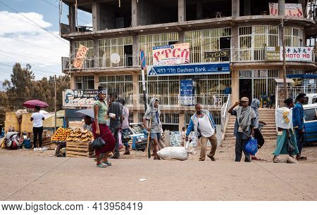 Azezo, Amhara Region, Ethiopia - April 22, 2019: Ordinary Peoples Behind African Dashen Bank, Every