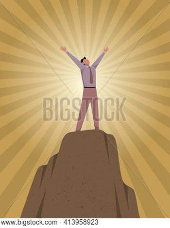 Conceptual Illustration For Empowerment, Depicting Character On Top Of Mountain.