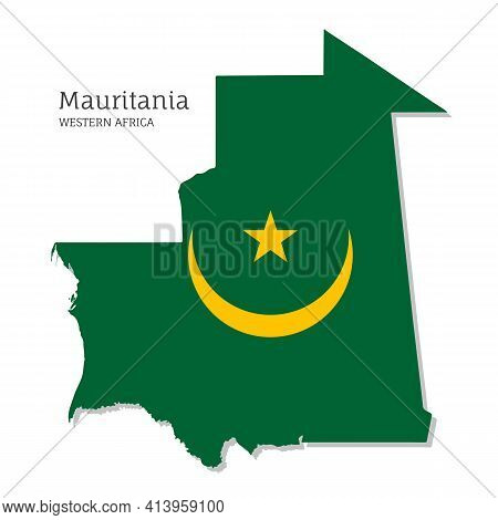 Map Of Mauritania With National Flag. Highly Detailed Map Of Western Africa Country