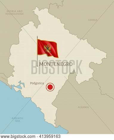 Highly Detailed Map Montenegro Territory Borders, South European Country
