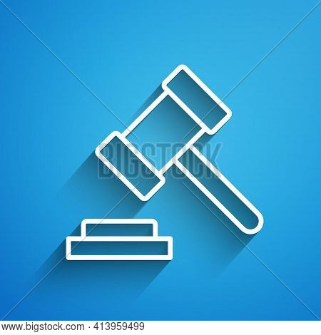 White Line Judge Gavel Icon Isolated On Blue Background. Gavel For Adjudication Of Sentences And Bil