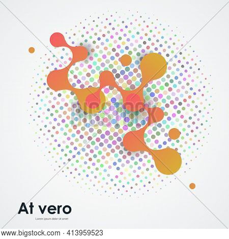 Abstract Orange Volumetric Large Molecules With Bright Circles On White Background. Vector Template