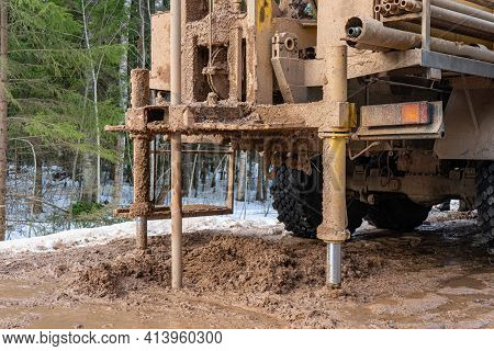 Drilling Rig On A Truck. Drilling Geotechnical Wells For Water Supply. Civil Water Well Drilling Rig