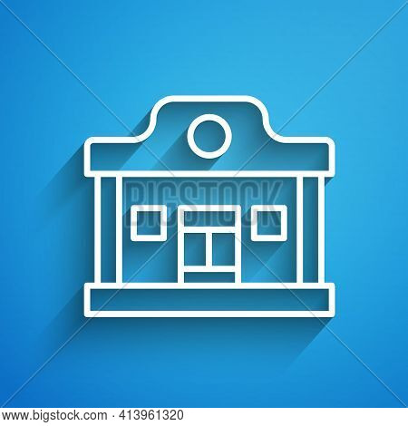 White Line Wild West Saloon Icon Isolated On Blue Background. Old West Building. Long Shadow. Vector