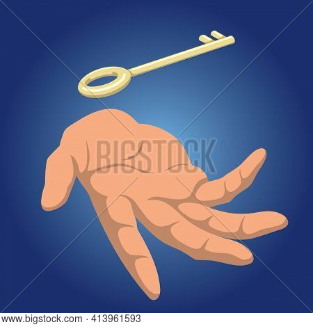 Conceptual Illustration Depicting Human Hand And A Golden Key Floating Above It.