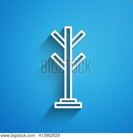 White Line Coat Stand Icon Isolated On Blue Background. Long Shadow. Vector
