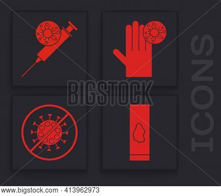 Set Blood Test And Virus, Syringe And Virus, Hand With Virus And Stop Virus Icon. Vector