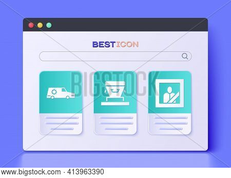 Set Coffin, Hearse Car And Mourning Photo Frame Icon. Vector
