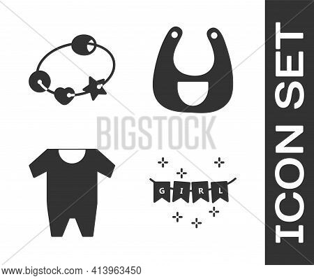 Set Carnival Garland With Flags, Rattle Baby Toy, Baby Clothes And Baby Bib Icon. Vector
