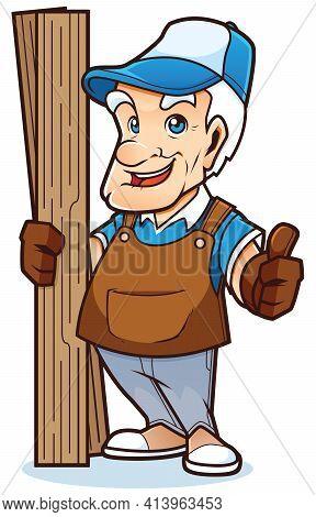 Mascot With Cartoon Experienced Handyman Ready To Help.