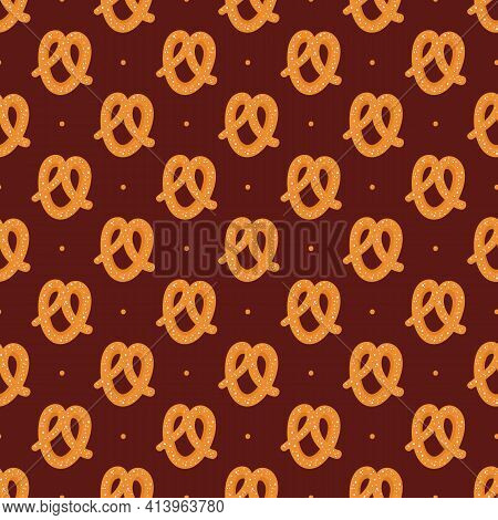 Cartoon Style Pretzel, Knot-shaped Baked Pastry And Dots Vector Seamless Pattern Background.