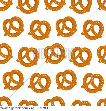 Cute Cartoon Style Salty Pretzel, Knot-shaped Baked Pastry Vector Seamless Pattern Background.