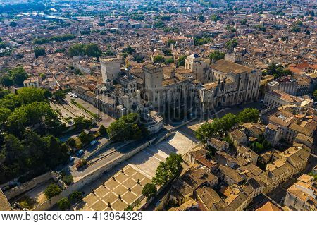 Palais Des Papes And Avignon City Townscape Scenery Photo