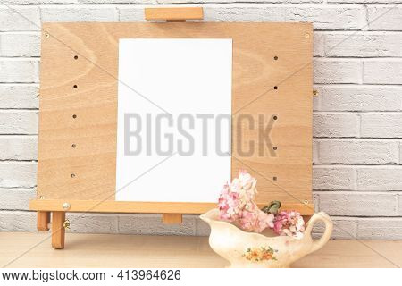 Vase With Natural Flowers As Still Life, Composition For Painting. Blank Canvas For Inspiration Flow