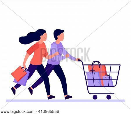 Couple Man And Woman Hurry Run With Shopping Cart To Sale In Shop, Buyers Rush. Family Buyer With Sh