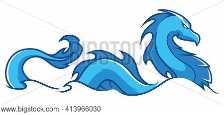 Mascot Or Logo With Blue Water Dragon Swimming.
