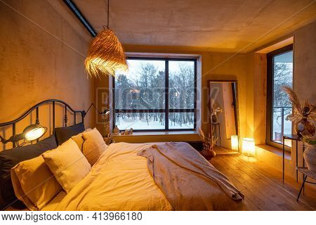 Stylish Bedroom Interior In Natural Boho Style