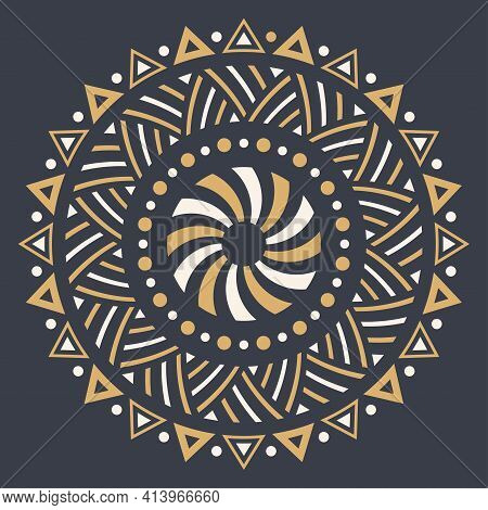 Abstract Circular Ornament. Ethnic Mandala. Stylized Sun Symbol. Rosette Of Geometric Elements. Trib