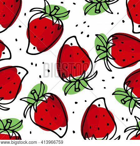 Strawberry Hand Drawn Sketch Seamless Pattern. Bright Berry. Outline Vector Illustration. Organic Fo
